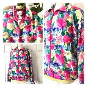 Oleg Cassini 100% Silk Floral Jacket Sz Large New